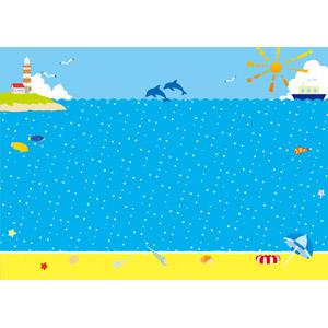 フリーイラスト, ベクター画像, AI, 風景, 夏, 海, 灯台(ライトハウス), 船, ビーチ(砂浜), イルカ, 魚(サカナ), 熱帯魚, カクレクマノミ, 鴎(カモメ), ビーチパラソル, 浮き輪, 貝殻, ヤドカリ