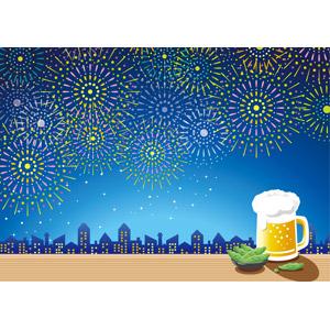 フリーイラスト, ベクター画像, AI, 風景, 夜, 夜空, 花火, 打ち上げ花火, 夏, 飲み物(飲料), お酒, ビール, ビールジョッキ, 枝豆(えだまめ), 都市, 街並み(町並み)