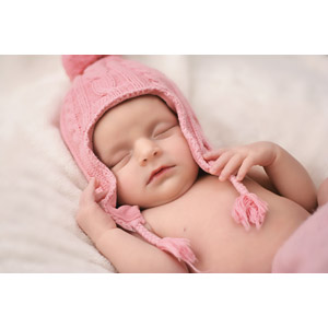 フリー写真, 人物, 子供, 赤ちゃん, ニット帽, 寝る(寝顔)