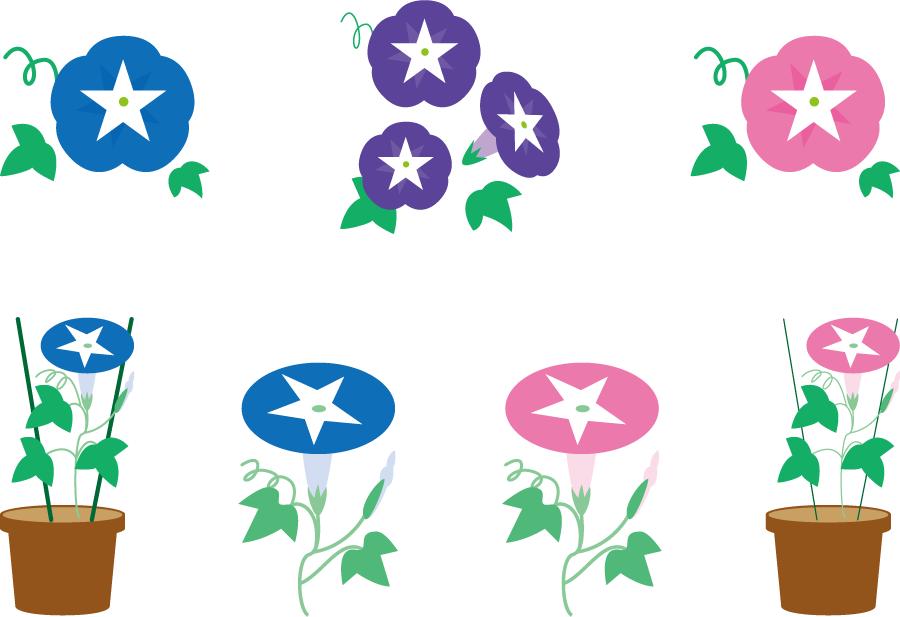 フリーイラスト 7種類のアサガオの花のセット