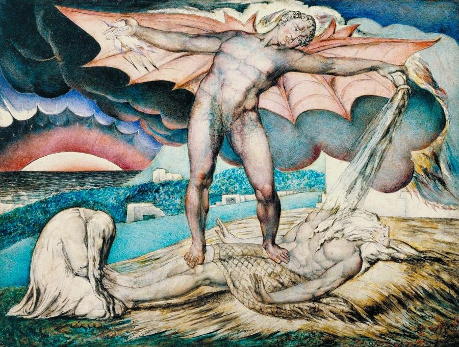 フリー絵画 ウィリアム・ブレイク作「腫物でヨブを撃つサタン」