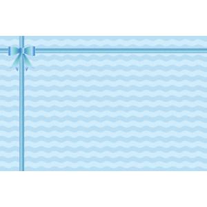 フリーイラスト, ベクター画像, AI, 背景, リボン, 蝶リボン, ラッピングリボン, 波線, 青色(ブルー)