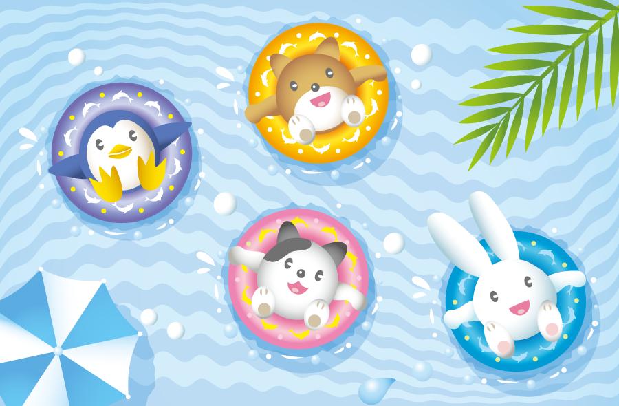 フリーイラスト 浮き輪で海水浴を楽しむ動物たち