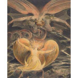 フリー絵画, ウィリアム・ブレイク, 宗教画, キリスト教, 新約聖書, ヨハネの黙示録, 龍(竜), 神話・伝説の生物