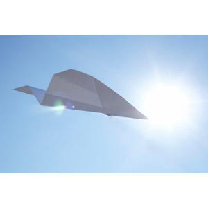 フリー写真, 風景, 空, 青空, 太陽光(日光), 紙飛行機