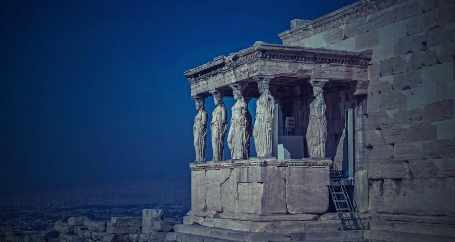 フリー写真 エレクテイオン神殿のカリアティード・ポーチ