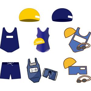 フリーイラスト, ベクター画像, AI, 衣服(衣類), 水着, スクール水着, 学校, 水泳帽(スイミングキャップ)