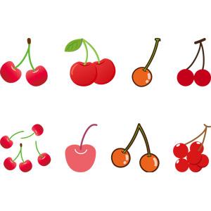 フリーイラスト, ベクター画像, AI, 食べ物(食料), 果物(フルーツ), さくらんぼ(サクランボ), 赤色(レッド)
