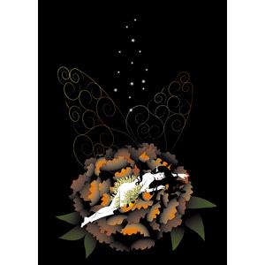 フリーイラスト, ベクター画像, EPS, 妖精(フェアリー), 神話・伝説の生物, 植物, 花, 牡丹(ボタン)