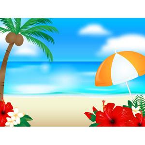 フリーイラスト, ベクター画像, AI, 風景, 海, ビーチ(砂浜), リゾート, バケーション, 南国, 椰子(ヤシ), ビーチパラソル, ハイビスカス, プルメリア