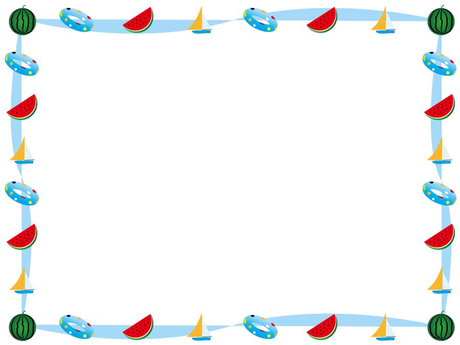 フリーイラスト 浮き輪とスイカとヨットの飾り枠
