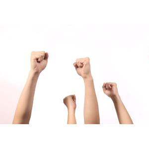 フリー写真, 人体, 手, 拳を上げる, 勝ち鬨, 白背景