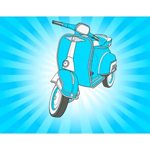 フリーイラスト, ベクター画像, AI, 乗り物, バイク(オートバイ), スクーター, 放射線状