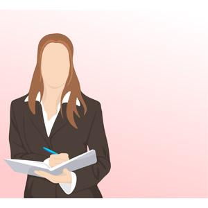フリーイラスト, ベクター画像, EPS, 人物, 女性, 仕事, 職業, ビジネス, ビジネスウーマン, 書く, ノート, レディーススーツ