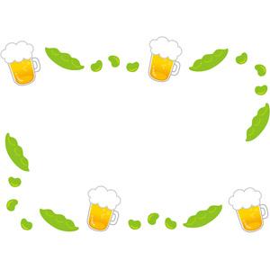 フリーイラスト, ベクター画像, AI, 背景, フレーム, 囲みフレーム, 飲み物(飲料), お酒, ビール, ビールジョッキ, 食べ物(食料), 枝豆(えだまめ), 豆(マメ)