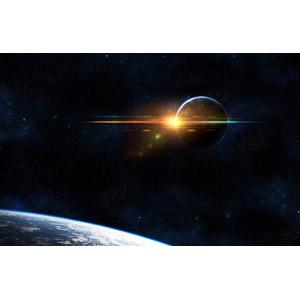 フリーイラスト, 天体, 宇宙, 惑星, 地球, 太陽光(日光), 月
