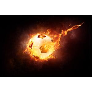 フリーイラスト, スポーツ, 球技, サッカー, サッカーボール, 火(炎), 黒背景