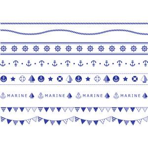 フリーイラスト, ベクター画像, EPS, 飾り罫線(ライン), 縄(ロープ), 舵, 碇, ヨット, 浮き輪, フラッグガーランド, 青色(ブルー)