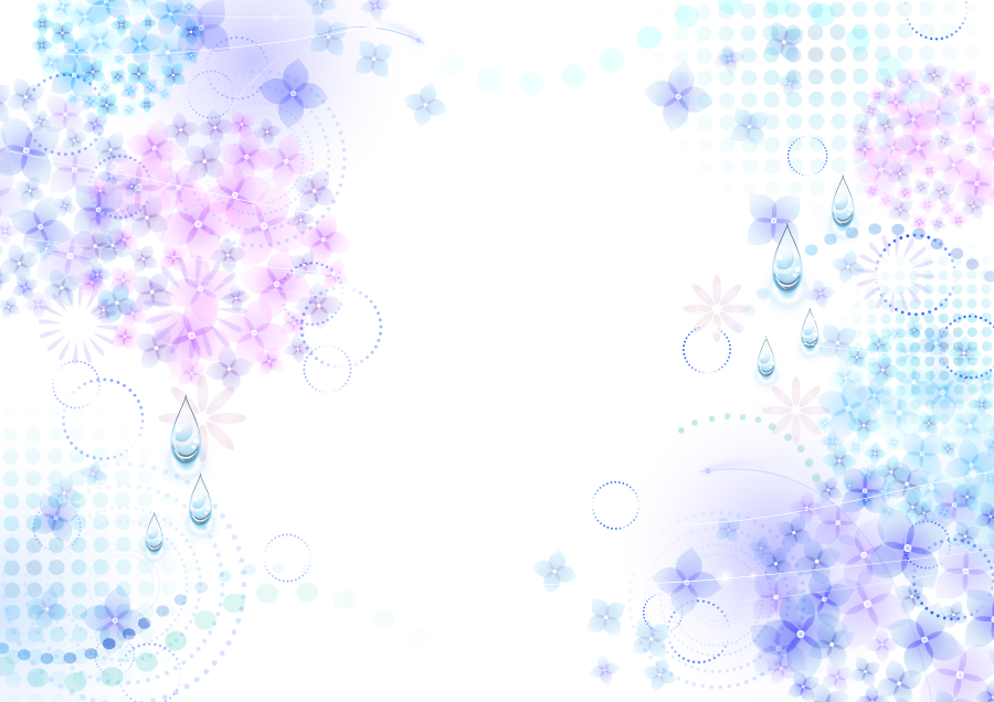 フリーイラスト あじさいの花と雨粒の梅雨の背景