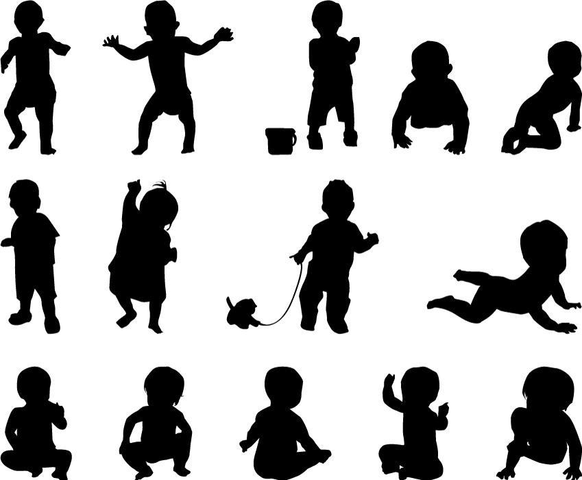 フリーイラスト 14種類の赤ちゃんのシルエットのセット