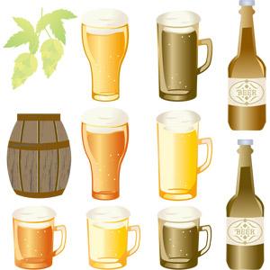 フリーイラスト, ベクター画像, EPS, 飲み物(飲料), お酒, ビール, ビールジョッキ, ビールグラス, ホップ, 作物, 樽
