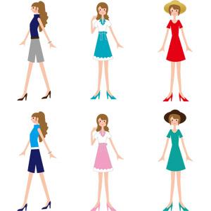 フリーイラスト, ベクター画像, AI, 人物, 女性, レディースファッション, 帽子, ワンピース, 横顔, 歩く, ハイヒール, パンプス