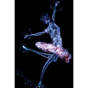 フリーイラスト, 煙(スモーク), 黒背景, バレエ, バレリーナ, 踊る(ダンス)