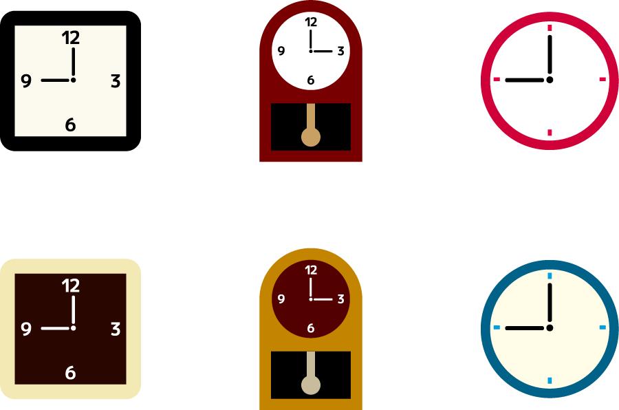 フリーイラスト 6種類の掛け時計のセット
