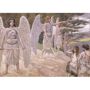 フリー絵画, ジェームズ・ティソ, 宗教画, 旧約聖書, 失楽園, アダム, イヴ, エデンの園, 天使(エンジェル)