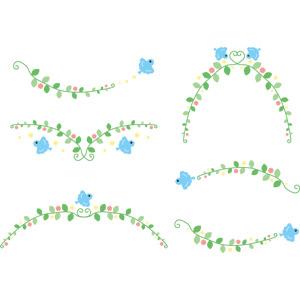 フリーイラスト, ベクター画像, EPS, 飾り罫線(ライン), 植物, 小鳥, 青い鳥, 鳥(トリ)