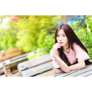 フリー写真, 人物, 女性, アジア人女性, 楚珊(00053), 中国人, 唇に指を当てる