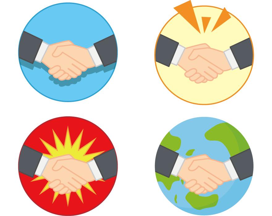 フリーイラスト 4種類の握手するビジネスマンの手