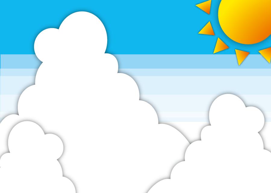 フリーイラスト 夏の太陽と入道雲