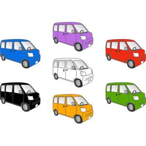 フリーイラスト, ベクター画像, AI, 乗り物, 自動車, 貨物自動車, 軽自動車, ワンボックスカー