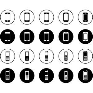 フリーイラスト, ベクター画像, EPS, アイコン, 携帯電話, スマートフォン(スマホ), ガラパゴス携帯(ガラケー), 電話
