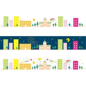 フリーイラスト, ベクター画像, AI, 飾り罫線(ライン), 街(町), 街並み(町並み), 虹, 夜, 打ち上げ花火, 星(スター), 紙吹雪, フラッグガーランド, 風船