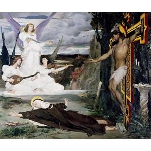 フリー絵画, 宗教画, キリスト教, 天使(エンジェル), イエス・キリスト, 磔刑, 十字架, 驚く, 修道女(シスター), 倒れる