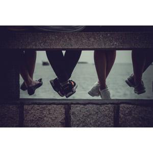 フリー写真, 人体, 足, 脚, 四人, 海
