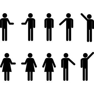 フリーイラスト, ベクター画像, AI, 人物, 男性, 女性, ピクトグラム, 案内する, 手を上げる, 挙手