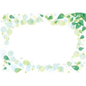 フリーイラスト, ベクター画像, AI, 背景, フレーム, 囲みフレーム, 植物, 葉っぱ, 新緑, 水玉模様(ドット柄)