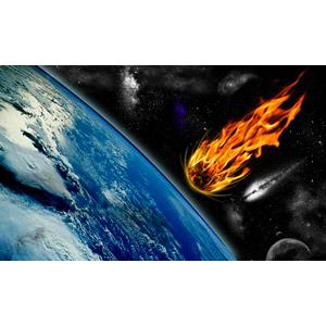 フリー写真, フォトレタッチ, 天体, 宇宙, 惑星, 地球, 彗星(ほうき星), 隕石, 火(炎)