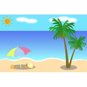 フリーイラスト, ベクター画像, AI, 風景, 海, ビーチ(砂浜), 椰子(ヤシ), ビーチパラソル, ヤドカリ, 夏