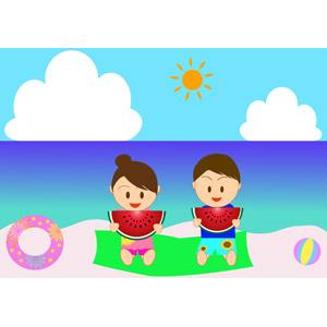 フリーイラスト, ベクター画像, AI, 人物, カップル, 海, ビーチ(砂浜), 夏, 海水浴, 浮き輪, ビーチボール, 西瓜(スイカ)