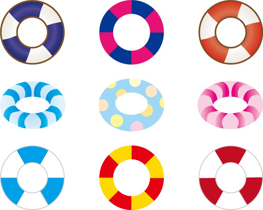 フリーイラスト 9種類の浮き輪のセット