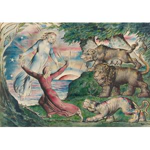 フリー絵画, ウィリアム・ブレイク, 物語画, 神曲, ダンテ・アリギエーリ, ウェルギリウス, 逃げる, 豹(ヒョウ), 獅子, 狼(オオカミ)