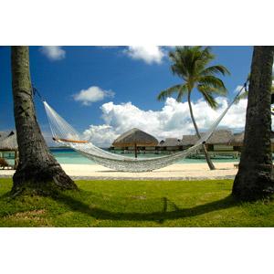 フリー写真, 風景, リゾート, ハンモック, バケーション, ビーチ(砂浜), 水上コテージ