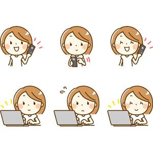 フリーイラスト, 人物, 女性, 女性(00210), スマートフォン(スマホ), 携帯電話, パソコン(PC), ノートパソコン, 焦る, 笑う(笑顔), ネットサーフィン