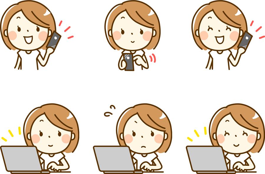 フリーイラスト スマホとパソコンを利用する6種類の女性のセット
