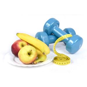 フリー写真, ダイエット, 白背景, 食べ物(食料), 果物(フルーツ), リンゴ, バナナ, ダンベル, メジャー(巻尺)
