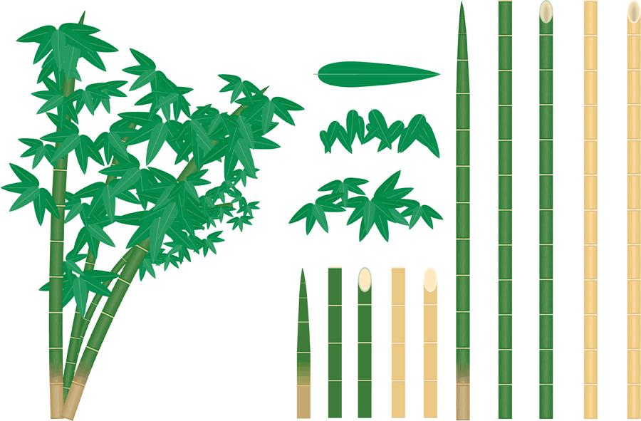 フリーイラスト 竹のパーツのセット